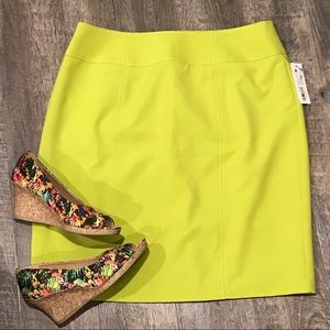 NWT Worthington Chartreuse Pencil Skirt Sz 14